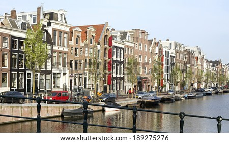 view of the city of amsterdam in holland - stock photo