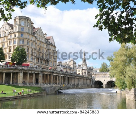View of the City of Bath and the River Avon in Somerset England