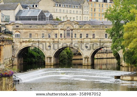View of the City of Bath Spa with Pultney Bridge and its Georgian Architecture - stock photo