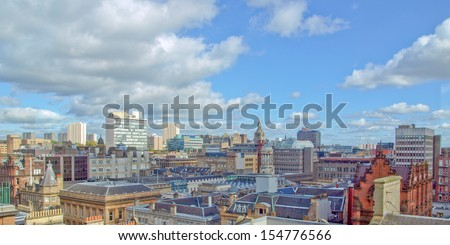 View of the city of Glasgow in Scotland - wide panoramic view