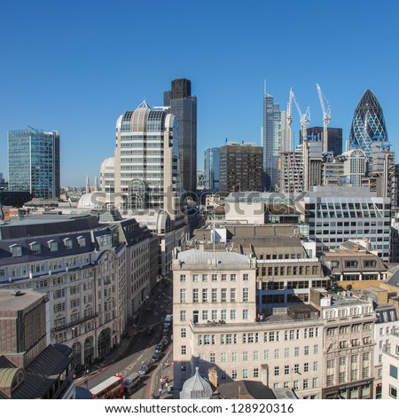 View of the City of London, England, UK - stock photo