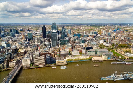 View of the City of London from the Shard - England - stock photo