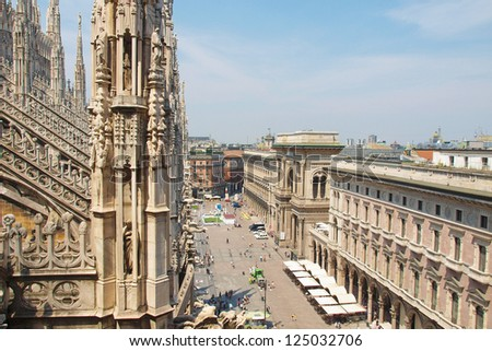 View of the city of Milan Milano in Italy - stock photo