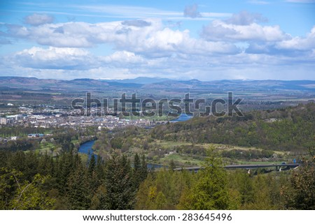 View of the city of Perth, Perthshire and Kinross, Scotland.