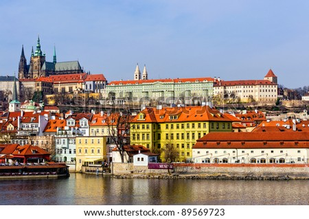 View of the City of Prague and Vltava River. All logos removed. - stock photo