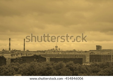 View of the city of Saint Petersburg in Russia - vintage sepia look