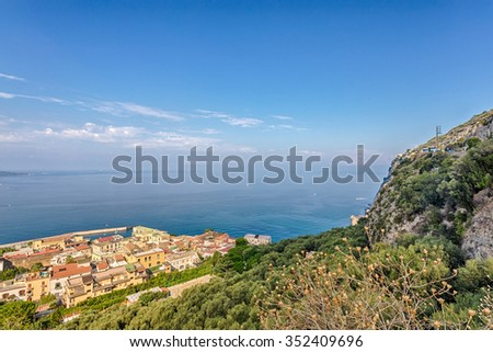 View of the city of Sorrento on the north side of the road, Italy.