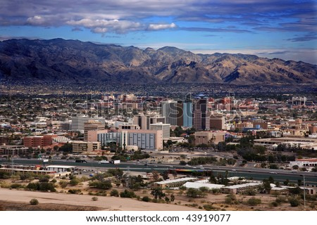 View of the city of Tucson Arizona from the top of Sentinel Mountain - stock photo