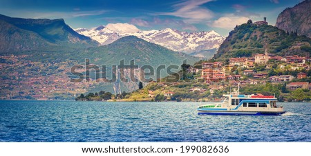 View of the city  Peschiera Maraglio, a bright sunny day. Italy, the Alps, Lake Iseo. Retro style. - stock photo