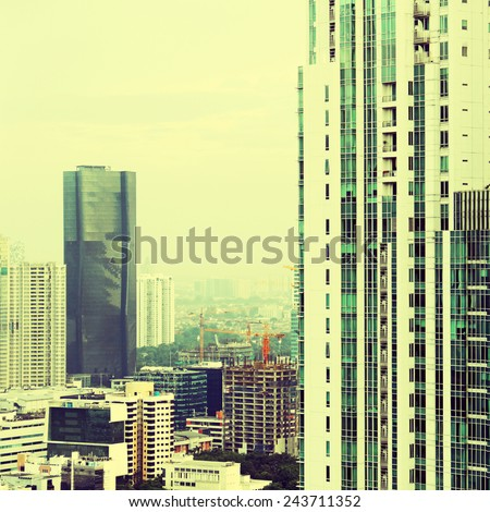 View of the city with a filter instagram - stock photo