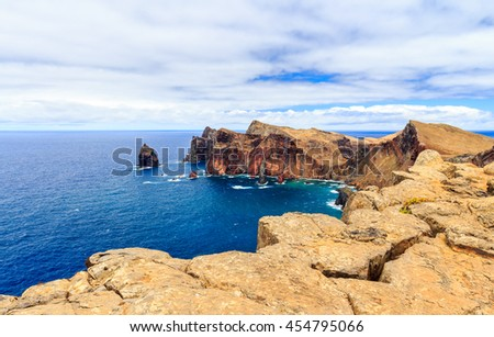 View of the cliffs at Ponta de Sao Lourenco, Madeira, Portugal