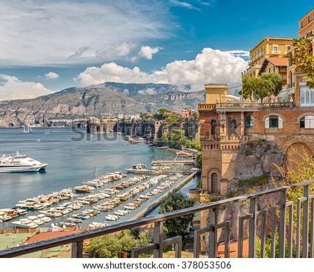 View of the coast in Sorrento, Italy. - stock photo
