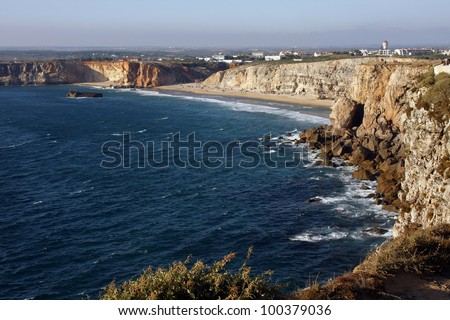 View of the coast near the city of Sagres, Algarve, Portugal - stock photo