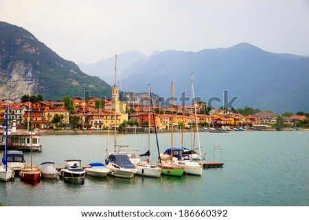 view of the coastal village at Maggiore lake, Italy - stock photo
