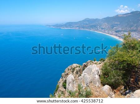View of the coastline of the Mediterranean Sea. Turkey, Alanya. - stock photo