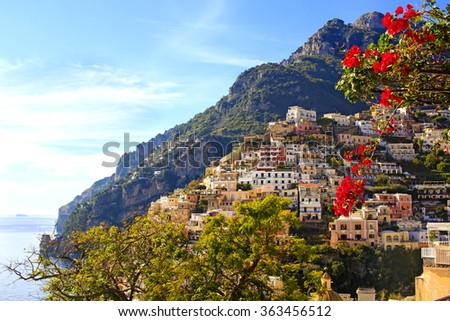 View of the colorful Positano town, the most famous place of the Amalfi Coast, South of Italy.  - stock photo