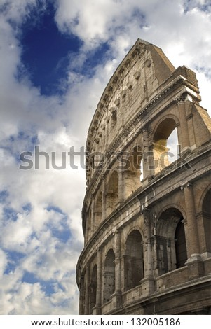 View of the colosseo in Rome - stock photo