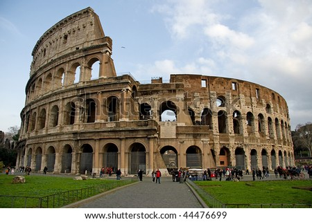 View of the colosseum in Rome - stock photo