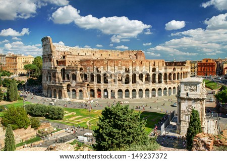 View of the Colosseum in Rome, Italy - stock photo