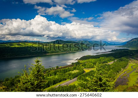 View of the Columbia River from the Vista House, at the Columbia River Gorge, Oregon. - stock photo