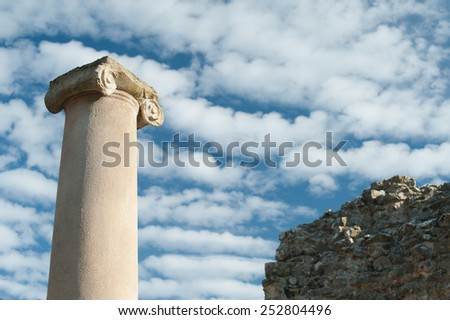 View of the columns at the entrance courtyard of the old roman Villa del Casale in Piazza Armerina, Sicily - stock photo