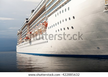 View of the cruise ship docked in Trieste  - stock photo