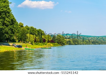 view of the danube river in the bend between visegrad and esztergom in Hungary