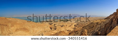 View of the Dead Sea and the mountains of Jordan. Panoramic photo - stock photo