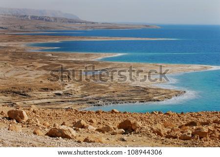 View of the Dead Sea coastline. Dead Sea, Israel. - stock photo