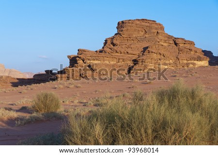 View of the desert in the later after noon in Wadi Rum UNESCO World Heritage area, Jordan - stock photo