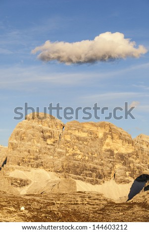 View of the Dolomites mountains in the evening light