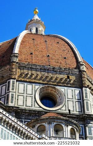 view of the dome of the Basilica di Santa Maria del Fiore, il Duomo, in Florence, Italy - stock photo
