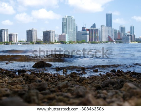 View of the downtown Miami, Florida skyline during the summer. - stock photo