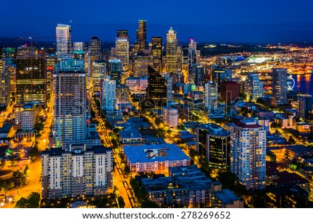 View of the downtown Seattle  skyline at night, in Seattle, Washington. - stock photo