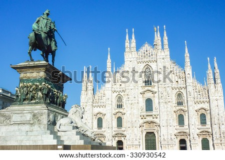 View of the Duomo in Milan, Italy - stock photo