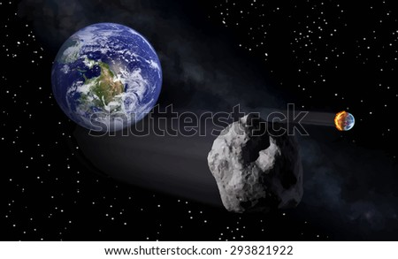 View of the earth from space with fire illustration - stock photo
