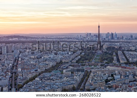 View of the Eiffel Tower on a sunset, Paris - stock photo