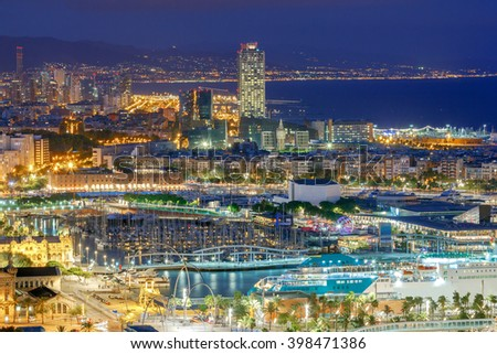 View of the embankment  and sea port in Barcelona at night. - stock photo