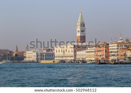 View of the embankment of Venice and Campanile of St. Mark from the sea