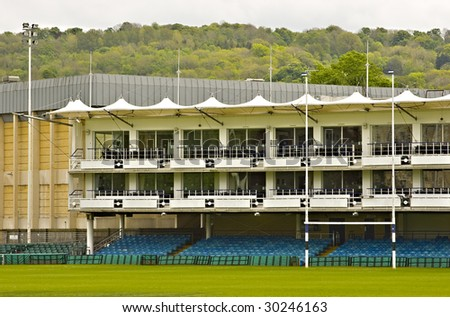View of the empty grandstand in Bath Rugby stadium - stock photo