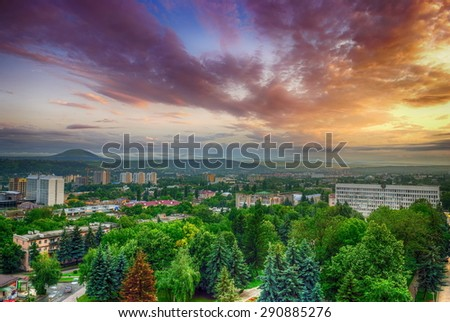 View of the evening city. Pyatigorsk. Russia - stock photo