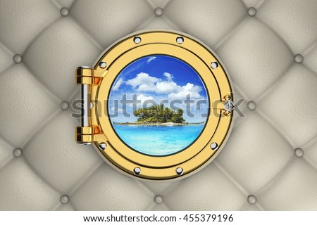 View of the exotic tropical island from the porthole of luxurious yacht, 3D illustration - stock photo