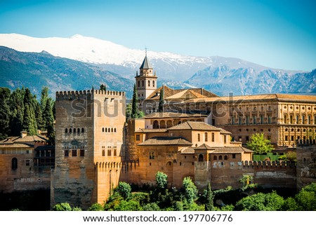 View of the famous Alhambra, Granada, Spain. - stock photo