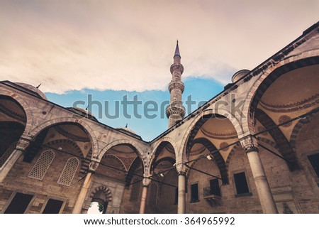 View of the famous Blue Mosque Sultan Ahmet Cami in Istanbul Turkey - stock photo