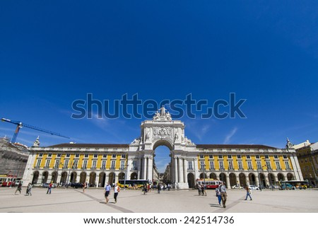 View of the famous Commerce Plaza located in Lisbon, Portugal. - stock photo