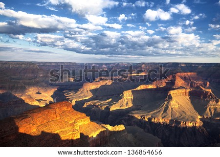 view of the famous Grand Canyon at sunrise, USA - stock photo