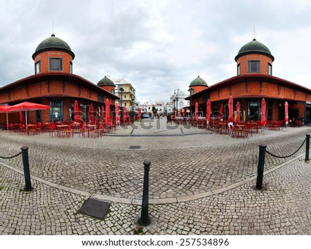 View of the famous grocery and fish market of the city of Olhao, Portugal.  - stock photo