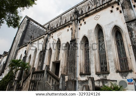 View of the famous St. Joseph's Cathedral in Hoan Kiem, Hanoi. This Gothic revival styled church built in the late 19th century is a renowned cathdral and performs mass twice daily. - stock photo