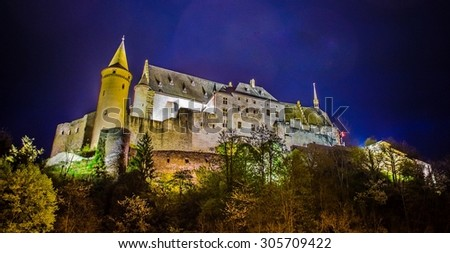 view of the famous vianden castle situated in luxemburg near border with germany. - stock photo