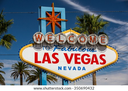 View of the famous Welcome sign in Las Vegas, Nevada.